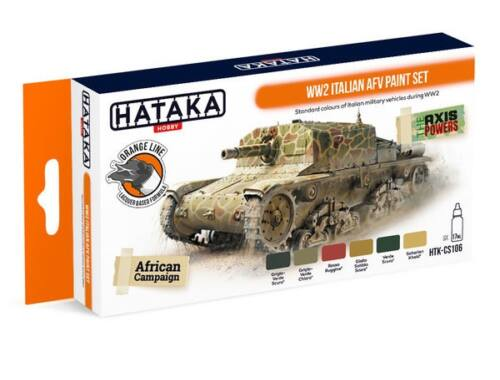 HATAKA Orange Line Set(6 pcs) WW2 Italian AFV paint set HTK-CS106
