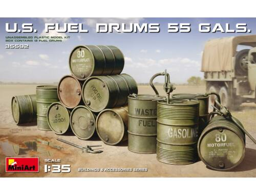 MiniArt U.S. Fuel Drums (55 Gals.) 1:35 (35592)