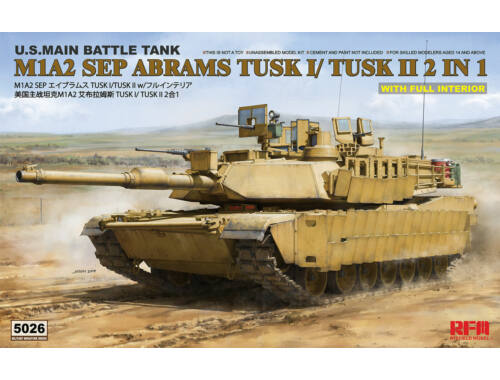 Rye Field Model M1A2 TUSK I/TUSK II with Full Interior 1:35 (RM-5026)