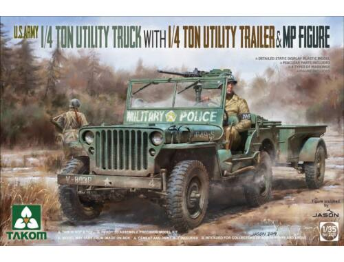Takom U.S. Army 1/4 ton utility truck w. utility trailer MP figure 1:35 (TAK2126)