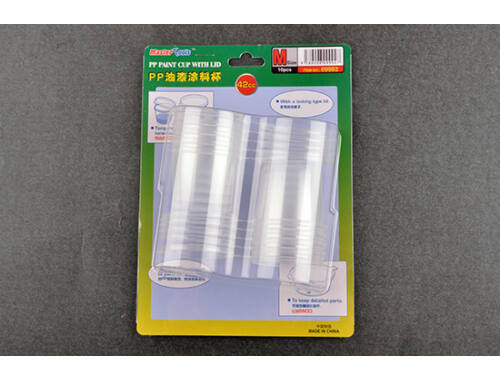Trumpeter Master Tools PP Paint Cup with Lid - M-size 42cc X 10pcs (9992)