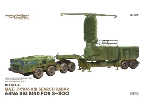 Modelcollect MAZ-74106 air search radar 64N6 BIG BIRD for S-300 1:72 (UA72049)