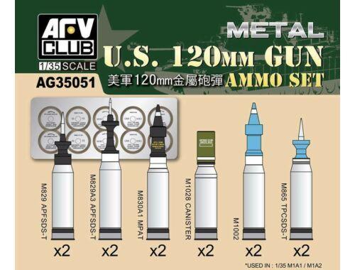 AFV-Club US M1A1/M1A2 M256 120mm Ammo set (Aluminum) 1:35 (AG35051)
