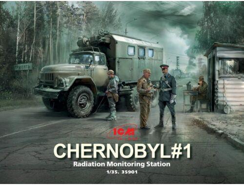 ICM Chernobyl 1.Radiation Monitoring Stat (ZiL-131KShM truck 5figu diorama base) 1:35 (35901)