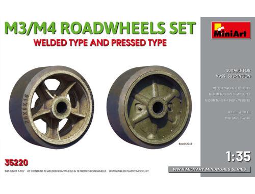 MiniArt M3/M4 Roadwheels Set. Welded Type and Pressed Type 1:35 (35220)