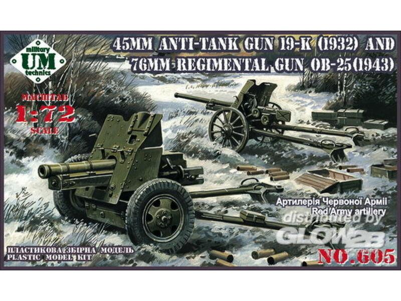 Unimodel 45mm Antitank gun 19-K (1932) and 76mm Regimental gun OB-25 (1943) 1:72 (605)