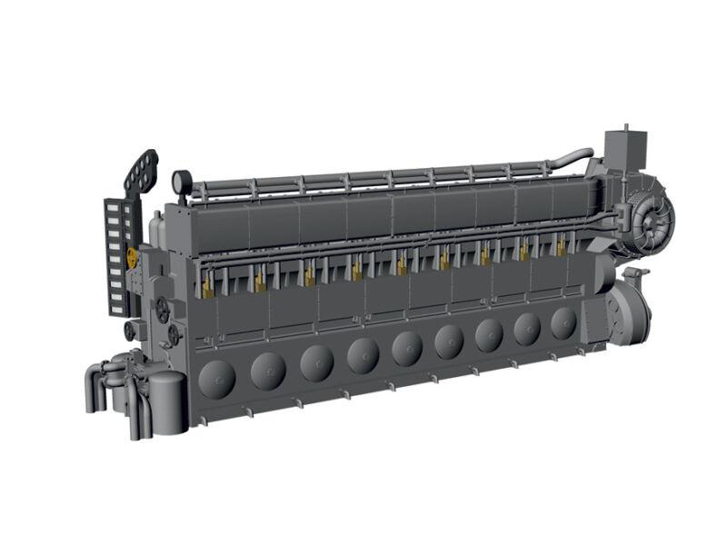 MPM N72027 Detail Resin Set Diesel Engine MAN M9V46 for UIXC in 1:72
