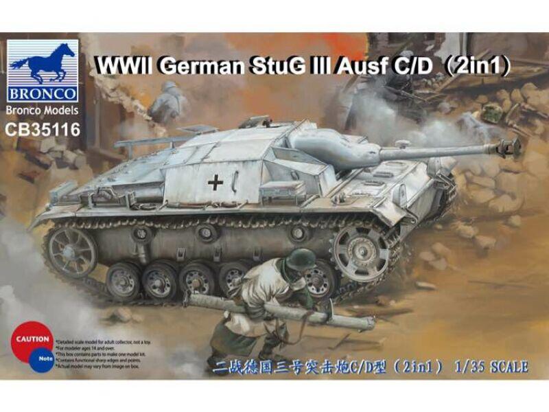 Bronco WWII German StuG III Ausf C/D with 75mm StuK 37/L24 75mm StuK40/L48(2in1) 1:35 (CB35116)